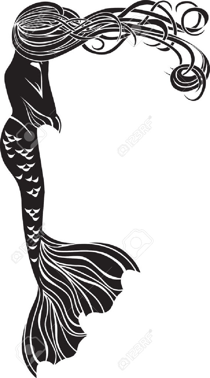 crying mermaid stencil for stickers in art nouveau style royalty rh 123rf com Castle Clip Art Vintage Castle Clip Art Vintage