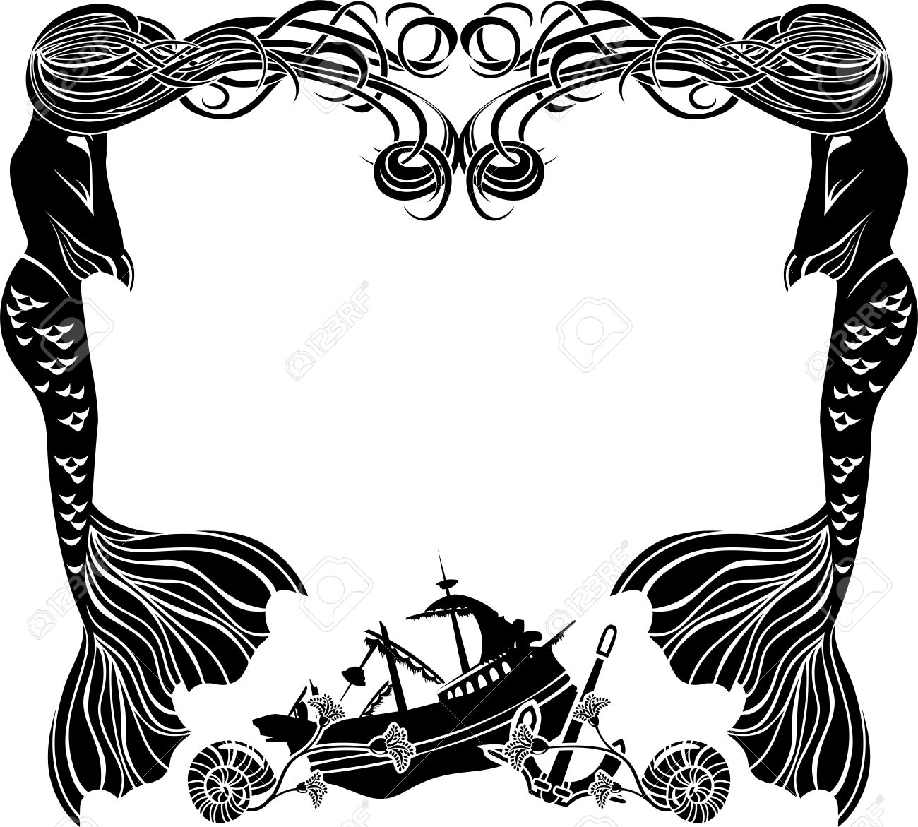 Frame, Mermaids Weep Shipwreck, Stencil For Sticker Royalty Free ...