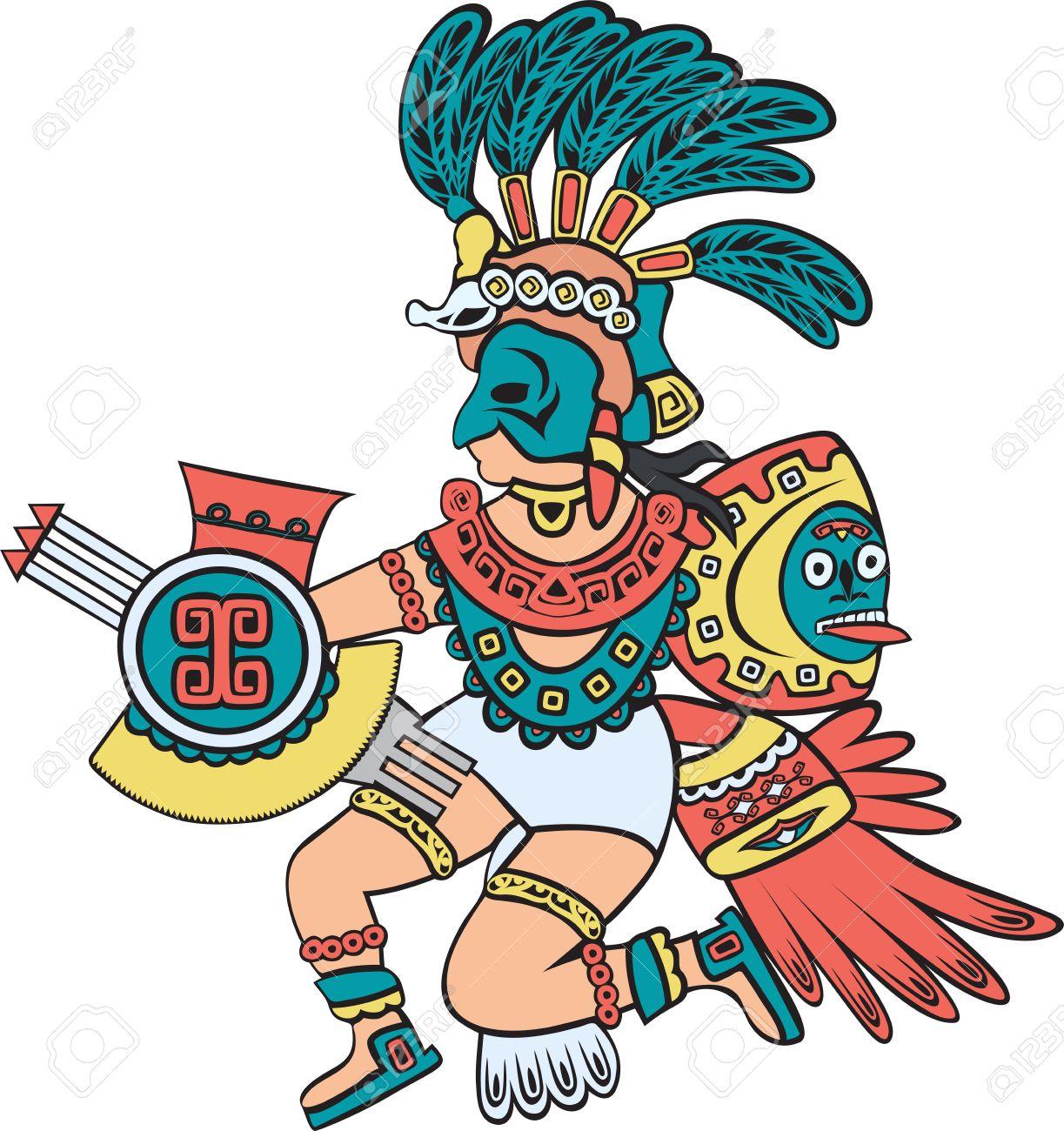 Dios Azteca Versión En Color Estilo De Dibujos Animados