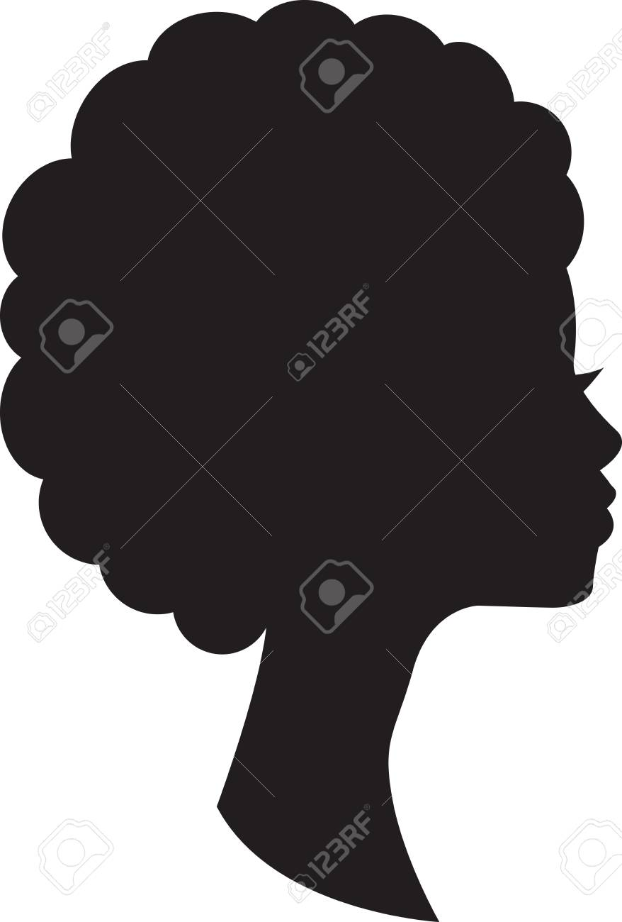 Head in profile of african woman on white background. - 83023643