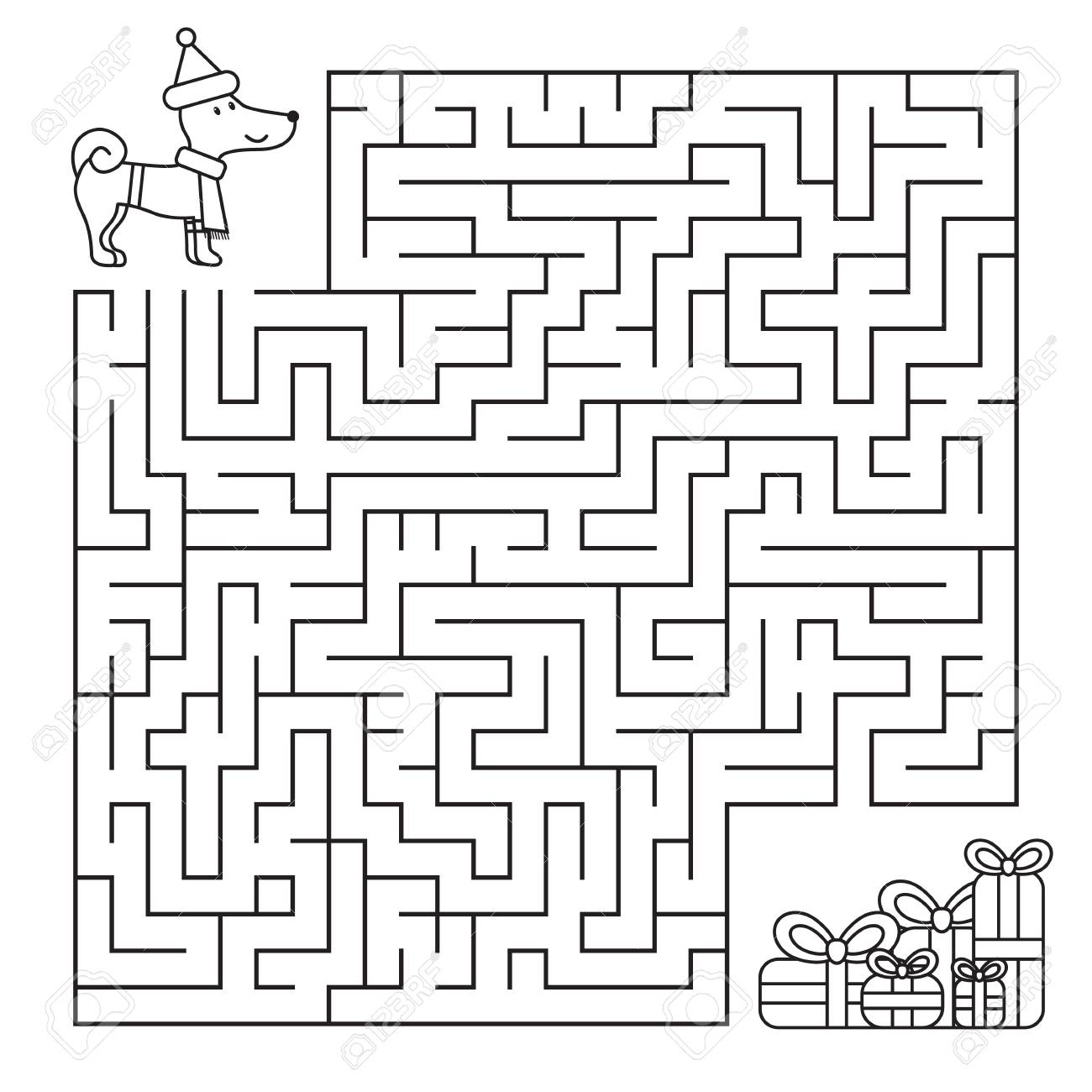 christmas maze for children funny dog looking for gifts coloring page