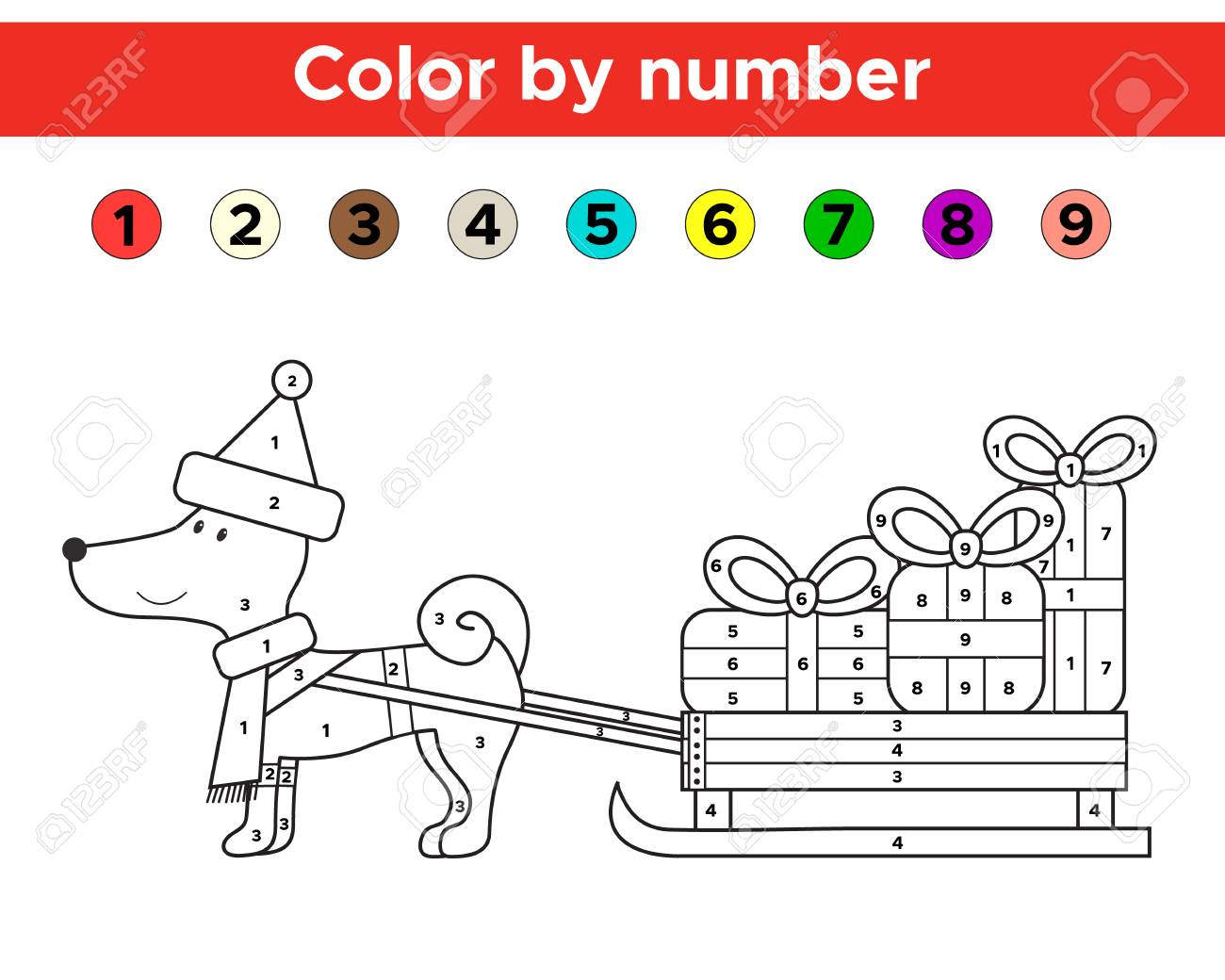 Color by number for preschool and school kids. Christmas coloring page with funny cartoon dog. Vector illustration. - 86920793