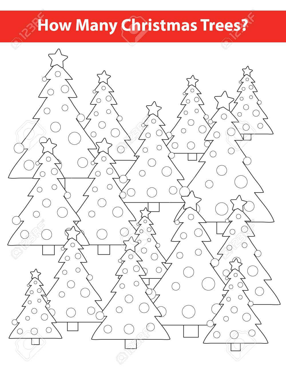 How Many Christmas Trees Education For Kids. Color Page. Vector ...