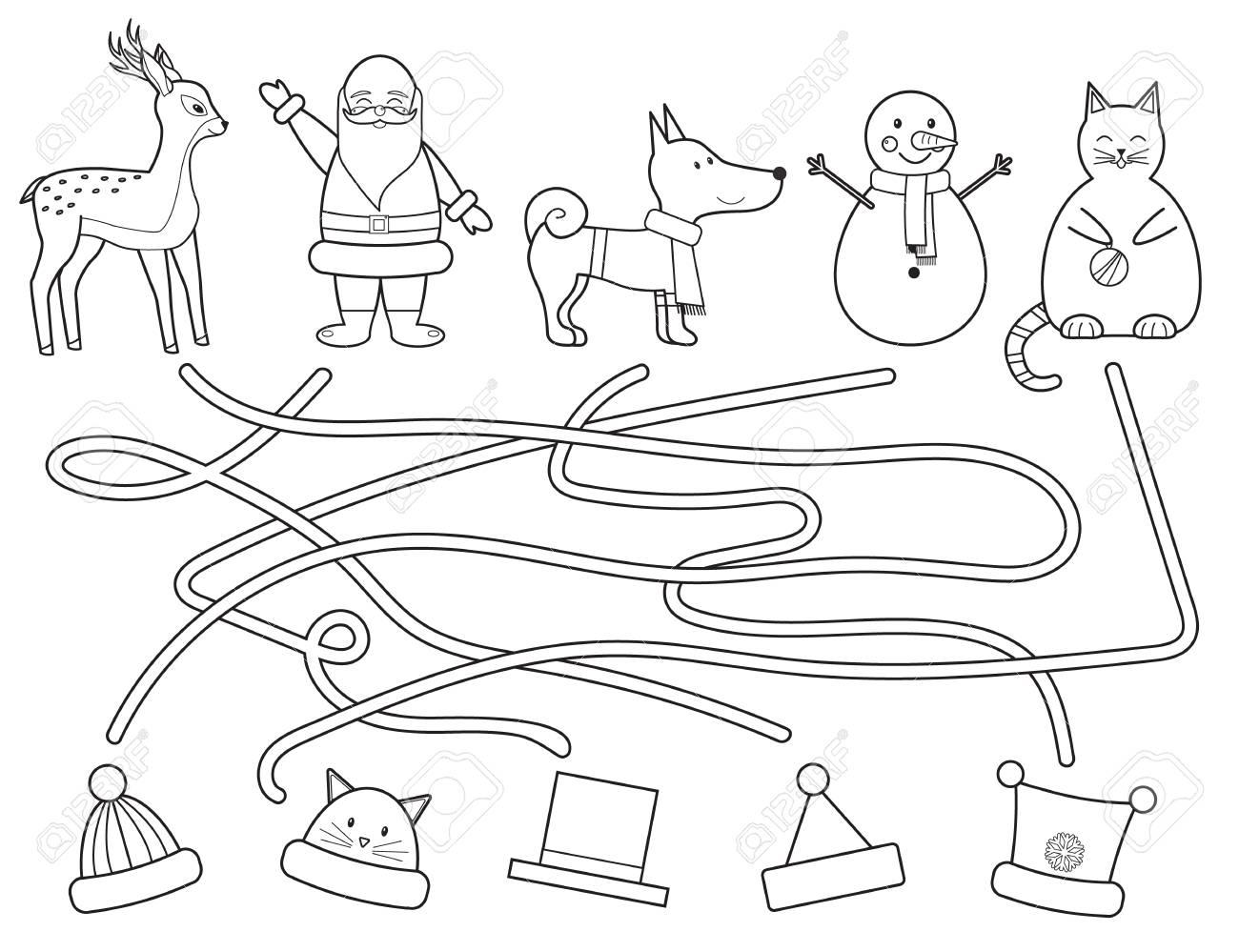 Coloriage En Ligne Educatif.Coloriage Le Labyrinthe De Noel Des Enfants Aide A Trouver Le Chapeau D Hiver Jeu Educatif Illustration Vectorielle Style De Ligne Art