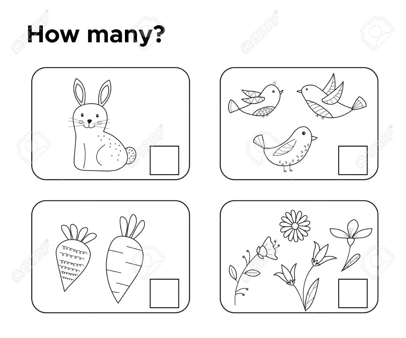 Wie Viele Objekte? Aufgabe Für Vorschulkinder. Malvorlage Oder Buch ...