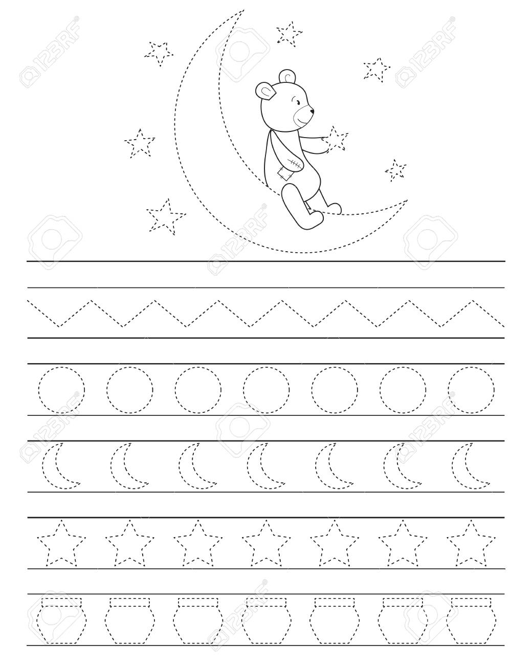 Handwriting Practice Sheet For Kids Good Night Teddy Bear