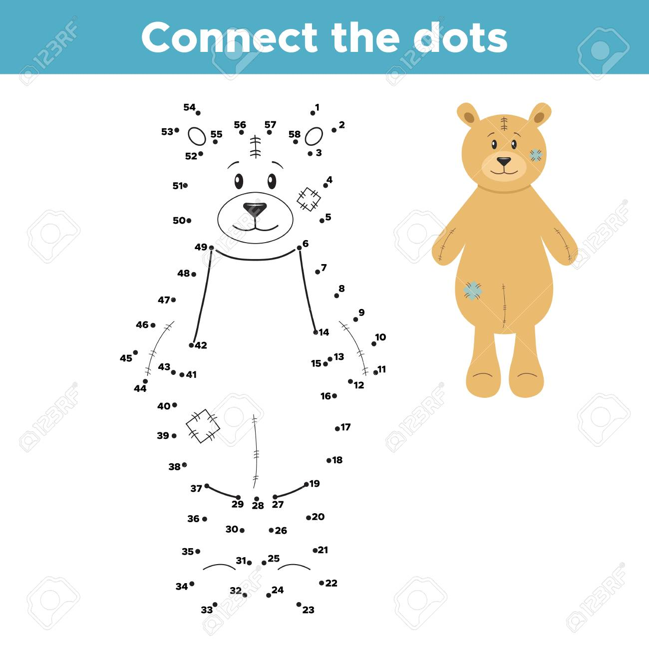 Teddy Bear Connect The Dots. Coloring Page Or Book. Educational ...