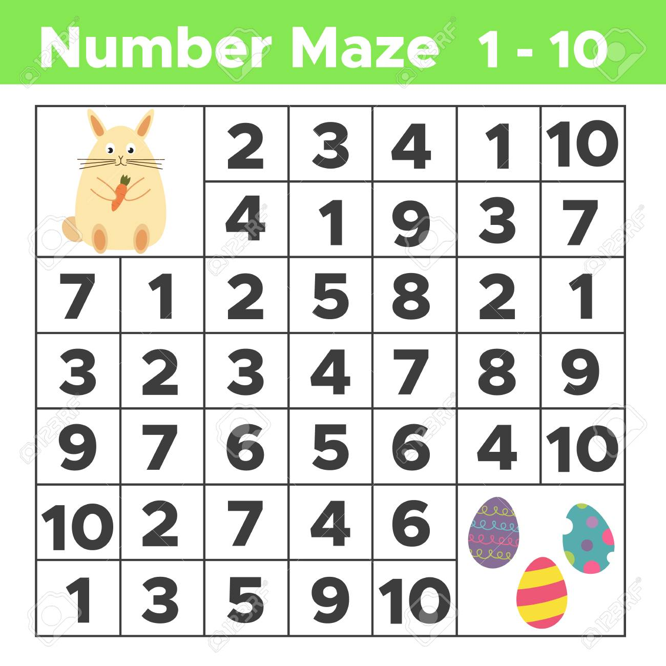 Spring Number Maze, Math Puzzle Game For Children. Help Bunny ...