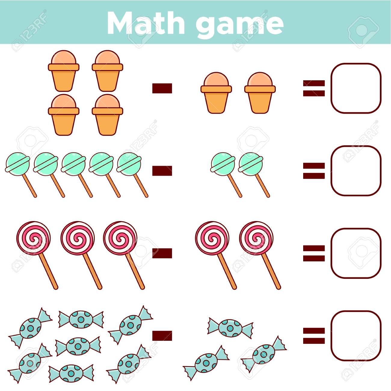 Educational a mathematical game for preschool kids. Subtraction..