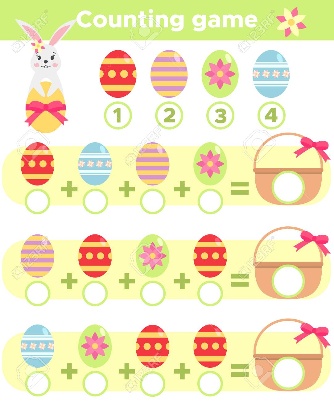 Counting Spring Game For Children Help Easter Rabbit Count Eggs