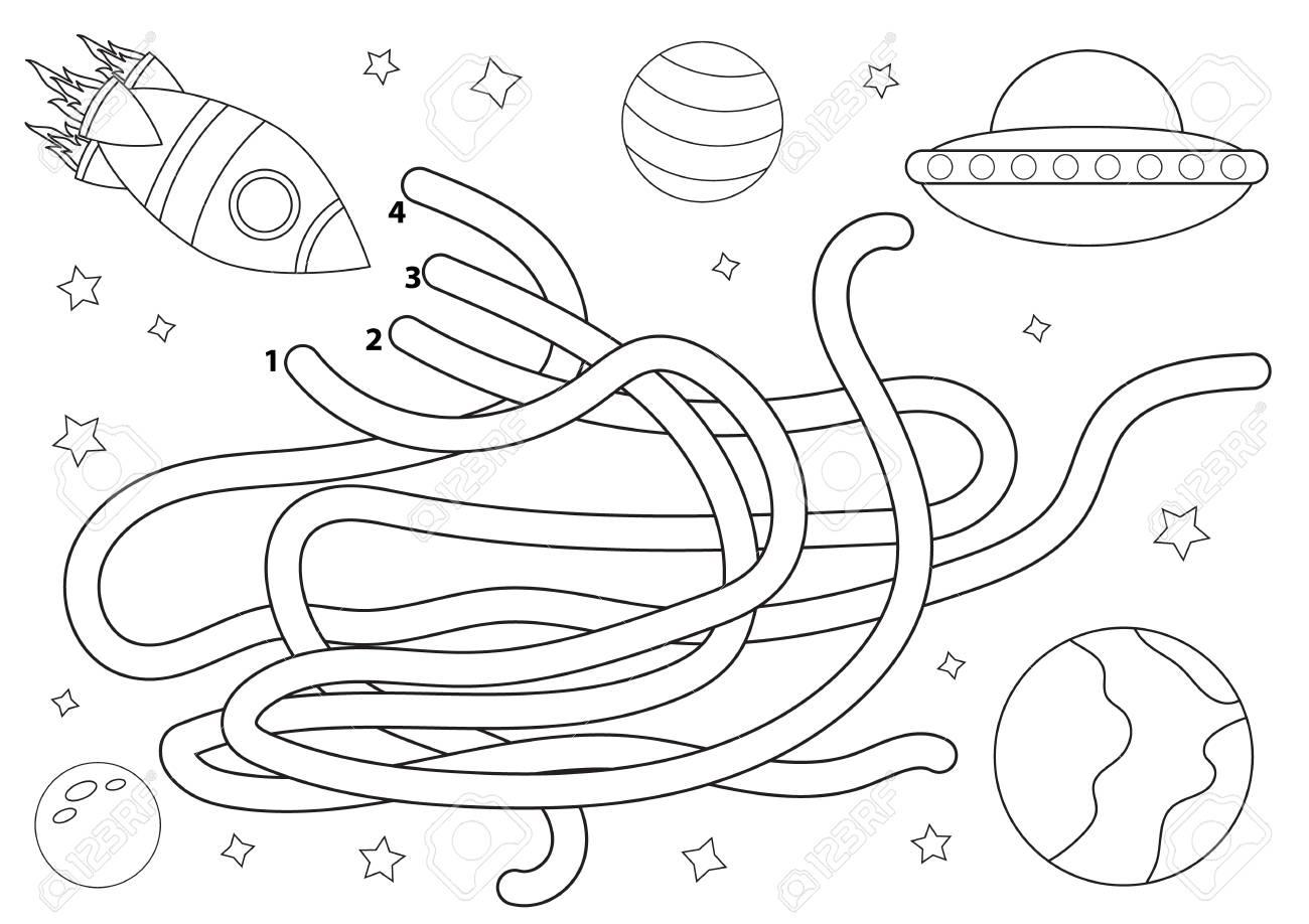 Weltraumlabyrinth für Kinder. Malvorlage. Hilf der Rakete. Lernspiel für  Kinder. Vektor-illustration