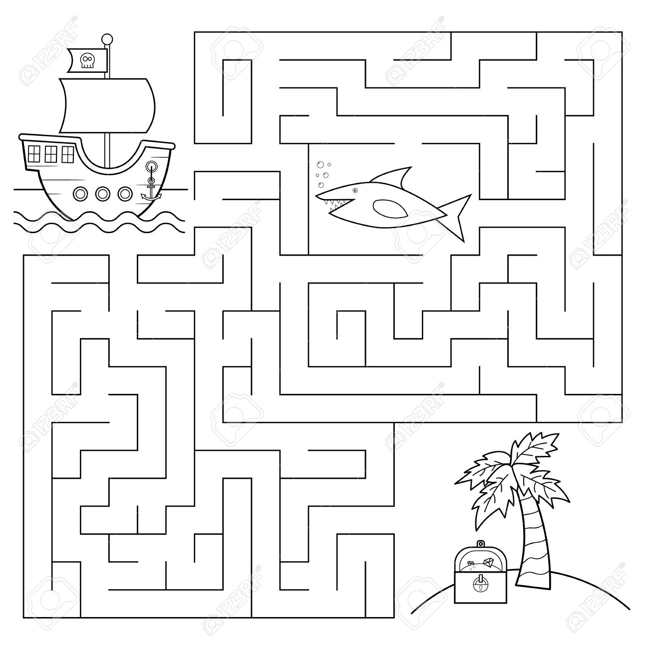 educational maze game for children help the pirates of the ship