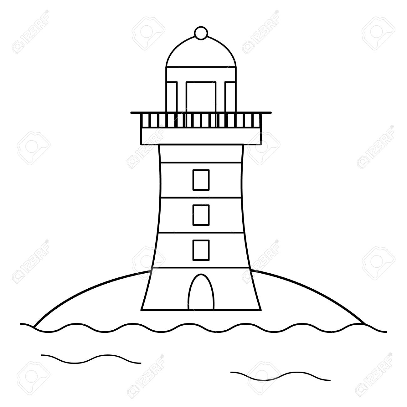 Coloring Page For Kids. Cartoon Lighthouse. Vector Illustration ...