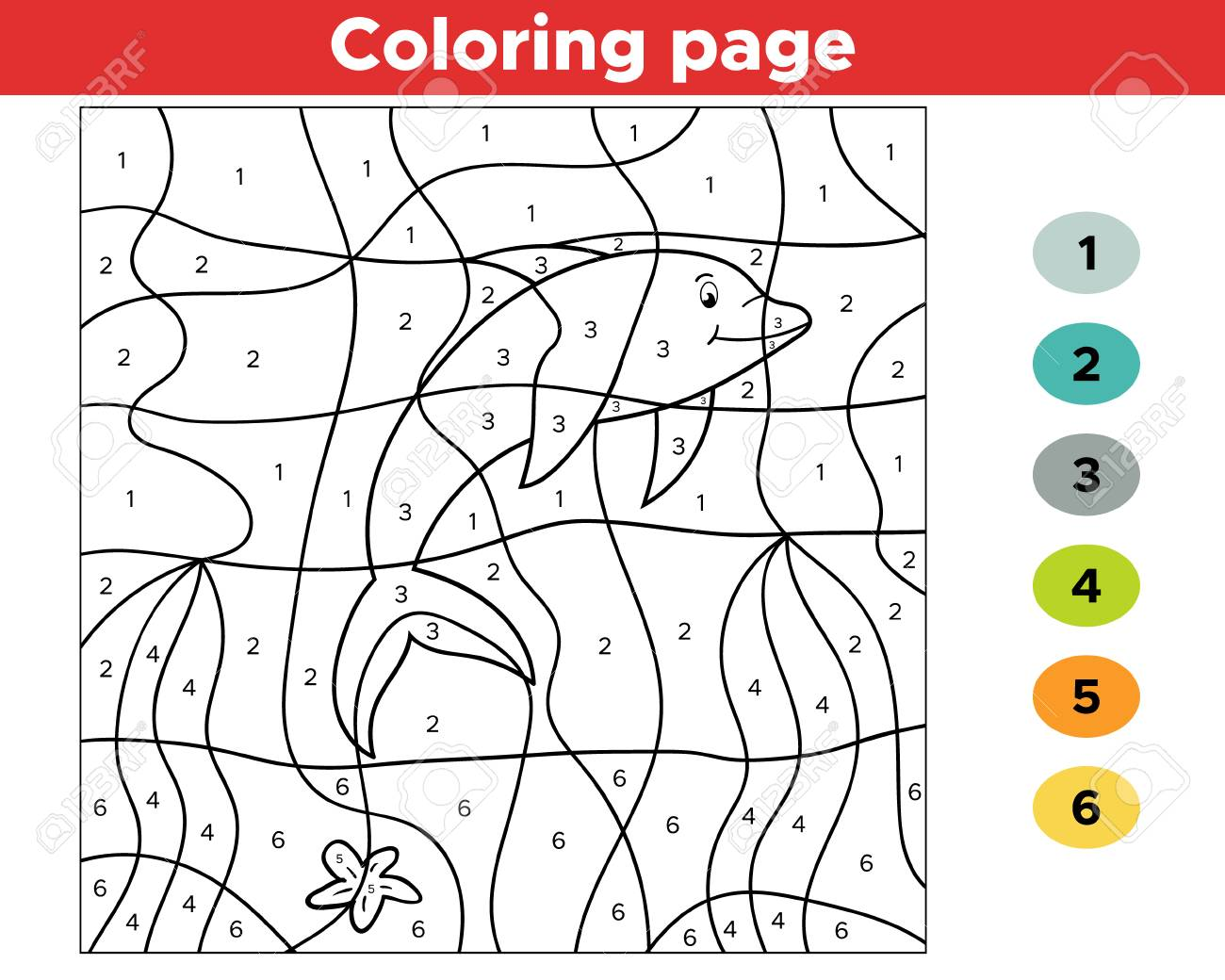 Number coloring page for children. Cartoon dolphin. Undersea world. - 112032600