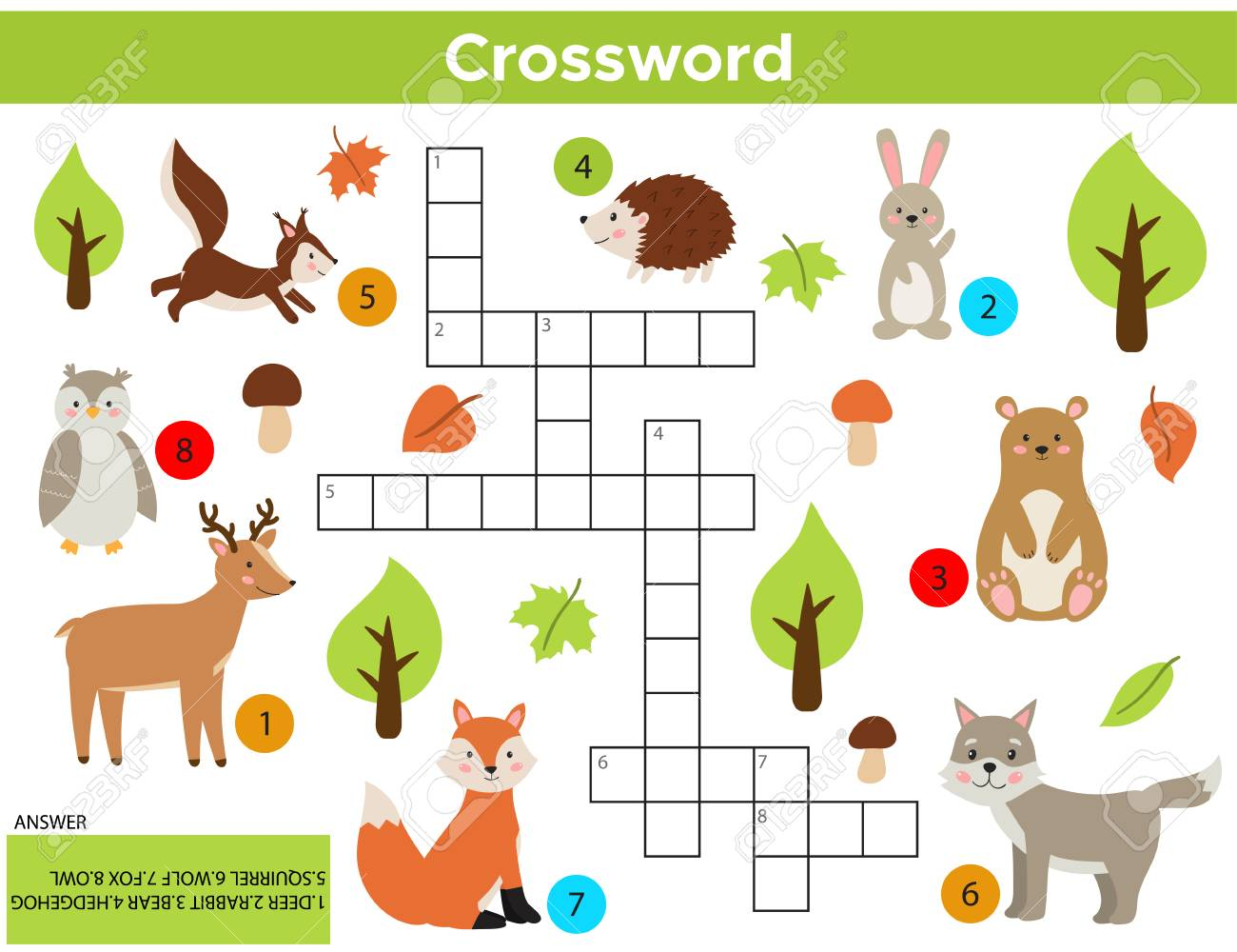Vector Forest Animals Crossword in English. Education game for children with answer. Printable worksheet. Cute cartoon rabbit, fox, wolf, squirrel, owl, bear, deer, hedgehog. - 120361463