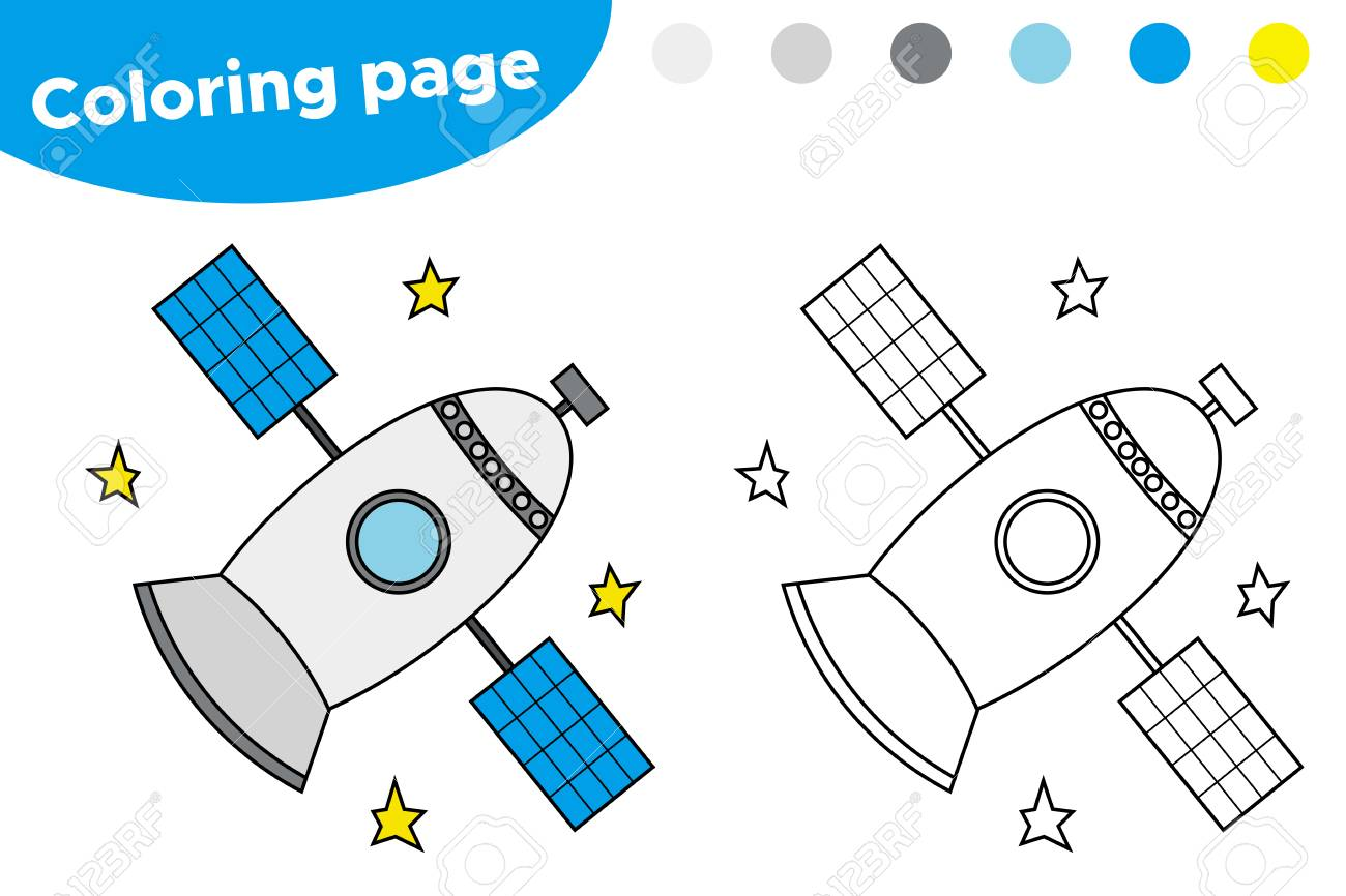 graphic relating to Space Printable known as Printable coloring webpage with satellite. Enlightening video game for..