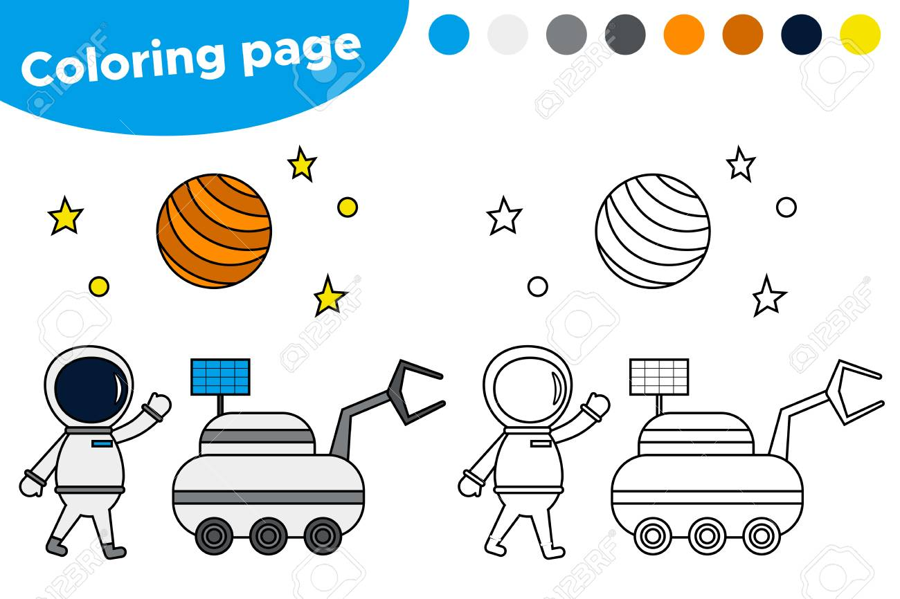 image about Astronaut Printable identified as Printable coloring webpage with astronaut and moon loader. Insightful..