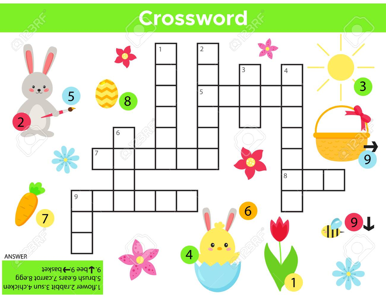 photo relating to Easter Crossword Puzzles Printable titled Vector Easter Crossword inside of English. Training sport for young children..