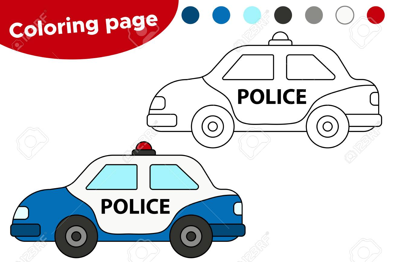 - Vector Illustration Of Black And White Police Car. Coloring Book