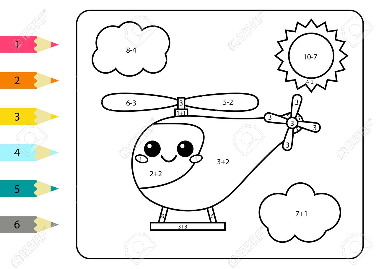 Cartoon kawaii helicopter. Math coloring page for kids. Addition..