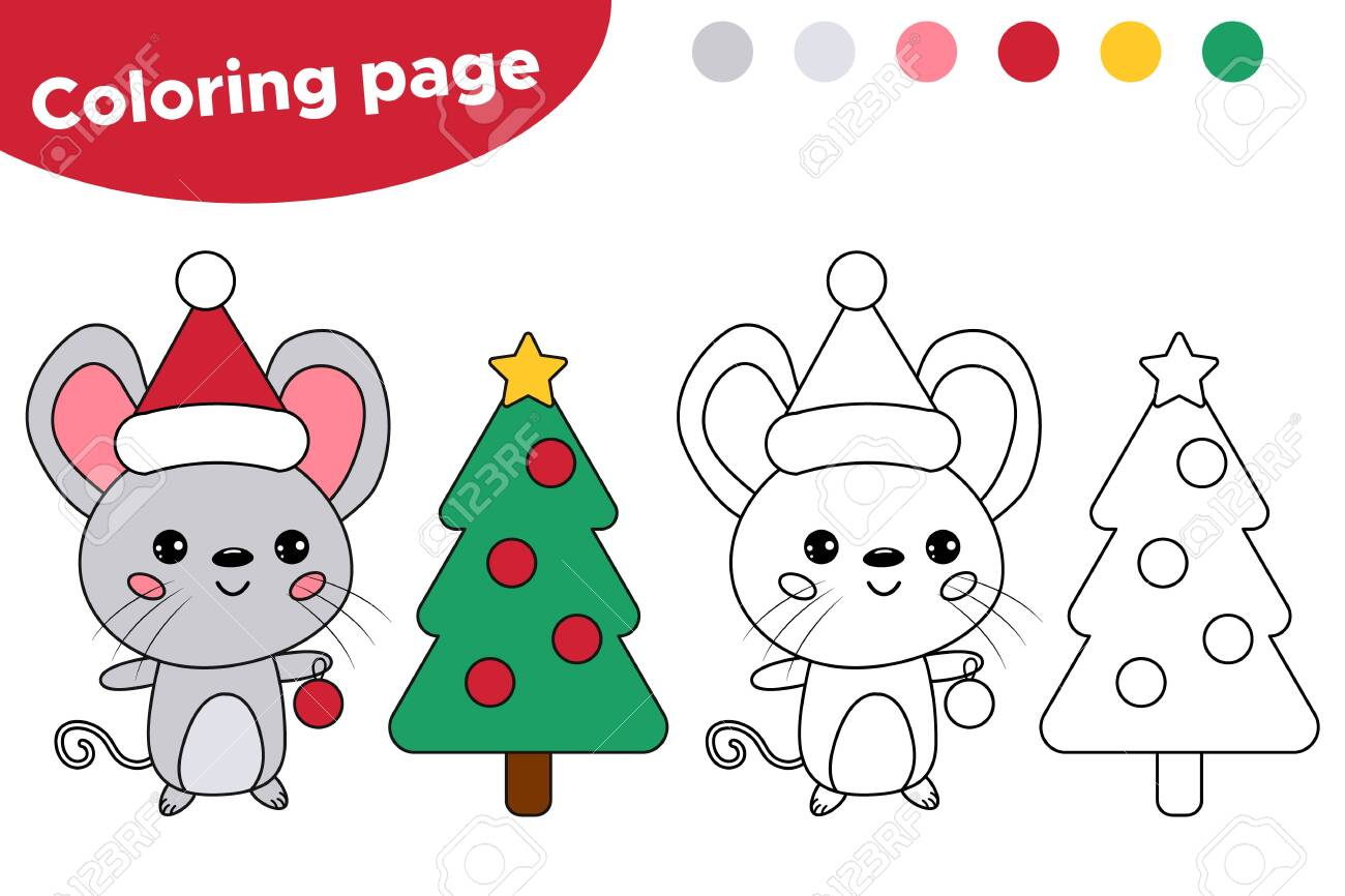 Cute Kawaii Mouse With Christmas Tree Chinese New Year Symbol Rat Coloring Page For Kids Educational Game Lizenzfrei Nutzbare Vektorgrafiken Clip Arts Illustrationen Image 131882486