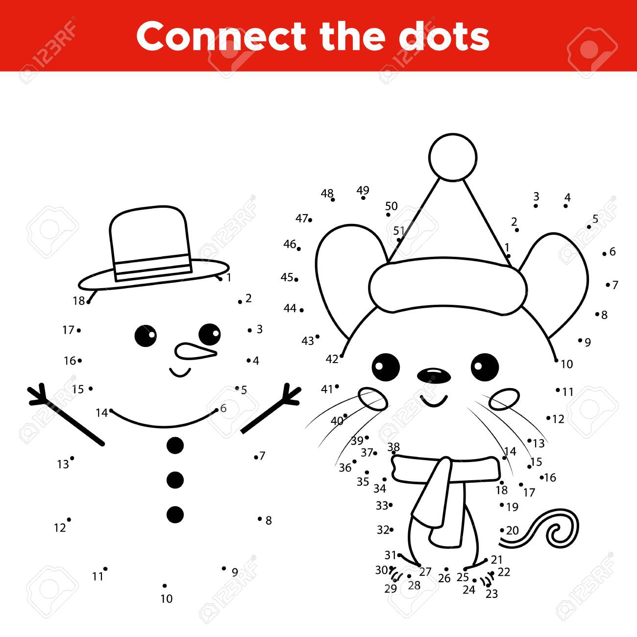 Educational number dot to dot game. Kawaii cartoon mouse character with snowman. Activity worksheet for kids. - 131882715