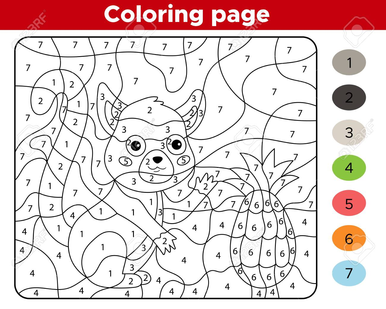 Educational Game For Preschoolers Number Coloring Page Cute Royalty Free Cliparts Vectors And Stock Illustration Image 141921543
