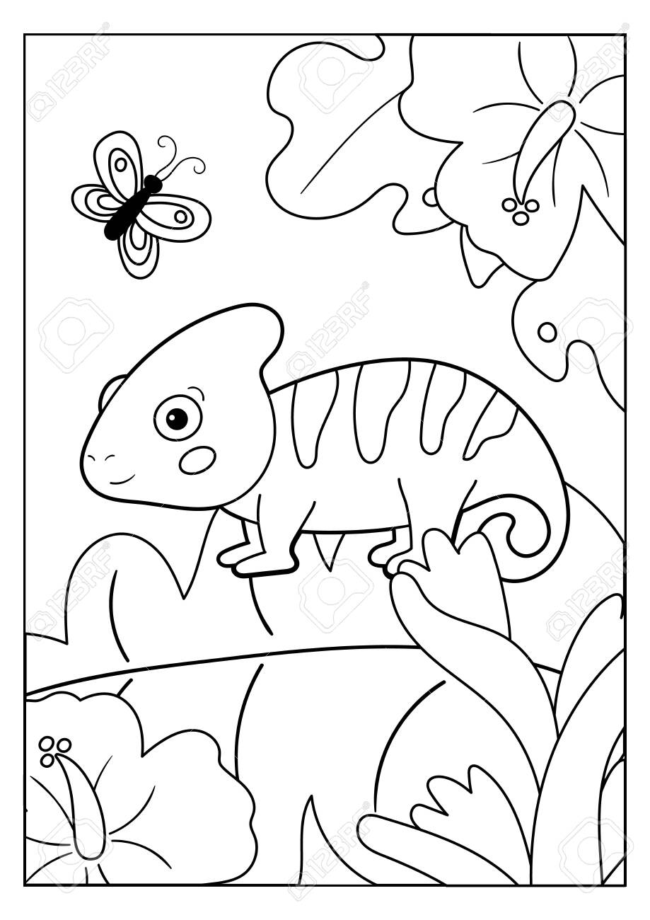 - Coloring Page For Kids. Jungle Animals. Cartoon Chameleon With