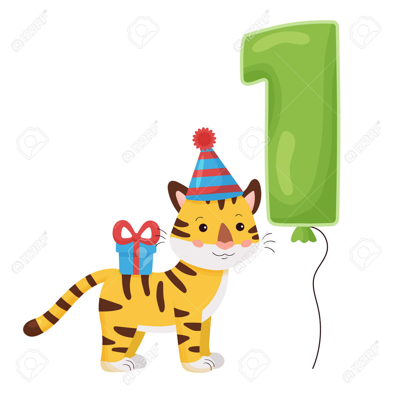 Cute cartoon tiger with number balloon. Vector illustration Happy Birthday. Greeting and invitation card design for one year old children. - 168077371