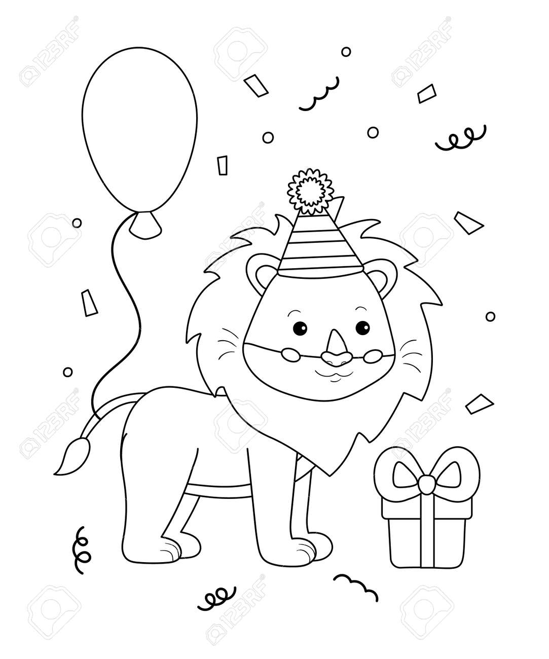 Cute happy birthday coloring page for kids. Funny cartoon lion with balloon and gift. Black and white vector illustration. - 165695080