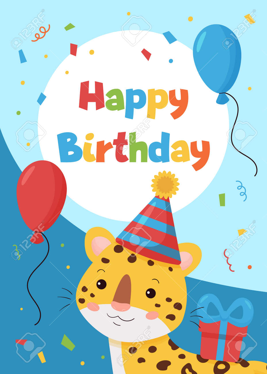 Vector greeting card with cute cartoon leopard. Happy Birthday postcard. Jungle animals. Ideal for printing on cards, invitations, banners, nursery decoration and posters. - 165695084