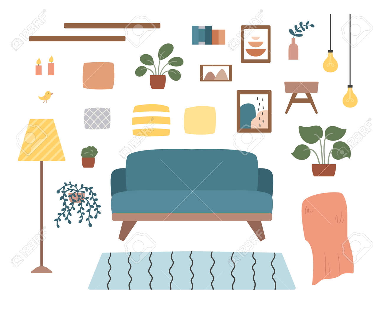 Cozy living room set with furniture, plants and decorations. Hand drawn doodle icons. Scandinavian hygge style. Trendy pastel colors. - 165695090
