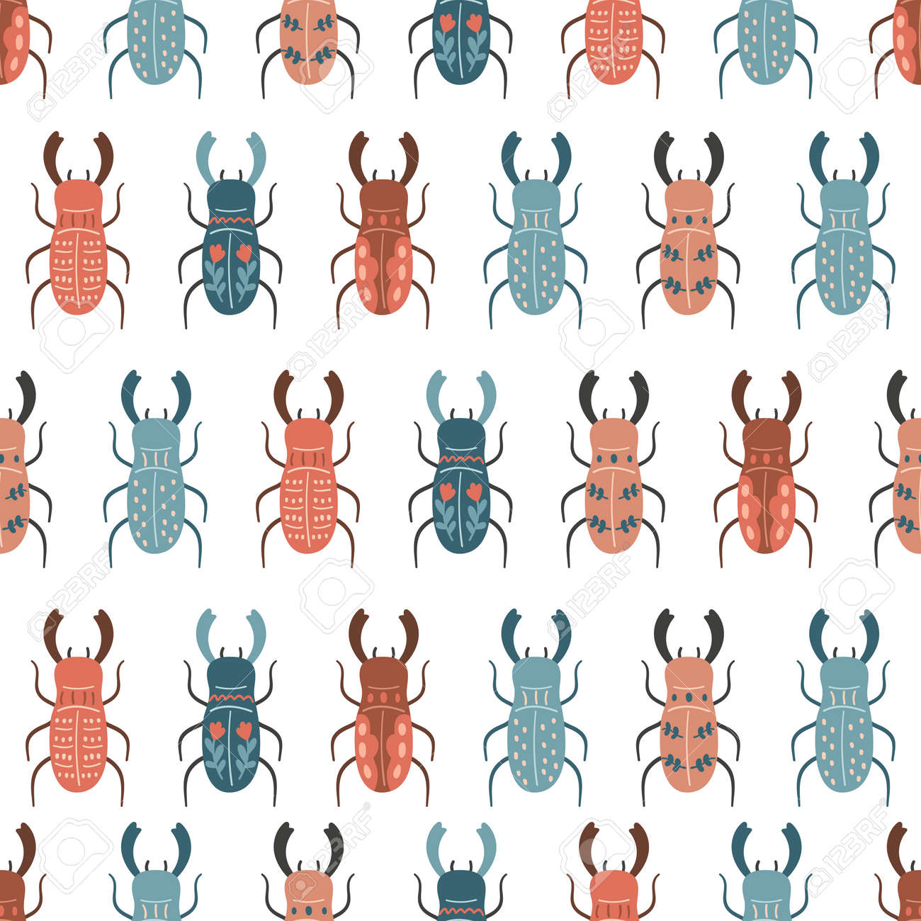 Vector seamless pattern with stylized stag beetles in folk style. Hand drawn insects on white background. Doodle illustration. - 166612302