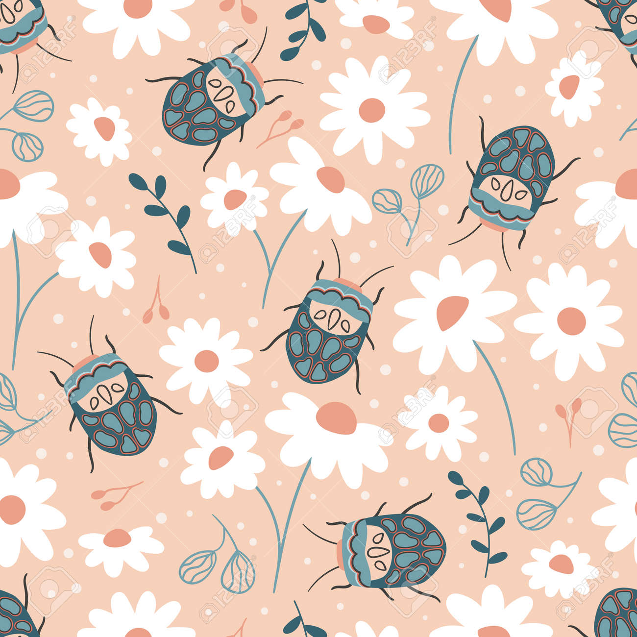 Seamless pattern with Sphaerocoris annulus and chamomile flowers. Hand drawn Picasso bug. Spring garden vector illustration. - 166612309
