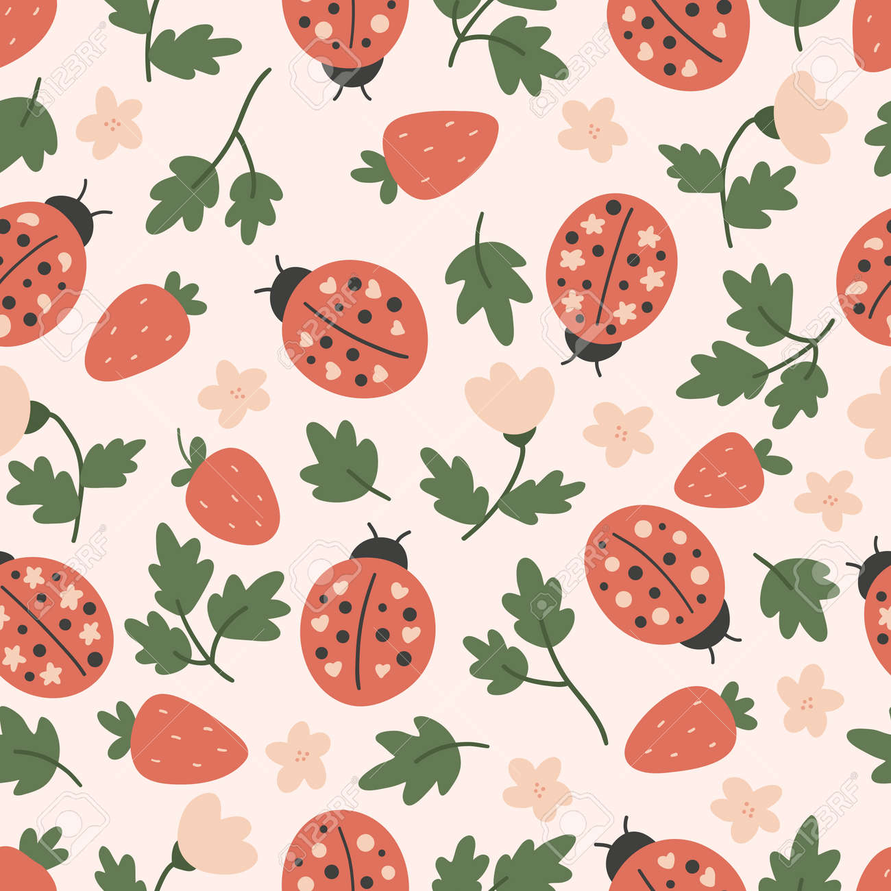 Hand drawn seamless pattern with ladybug and strawberry. Vector doodle plants and flowers. Stylized insects. - 166612311