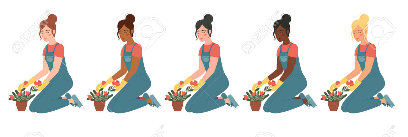 Vector set of women are engaged in gardening. Different skin and hair colors. Cartoon characters isolated on white background. Girls are planting flowers in pots. - 166585515