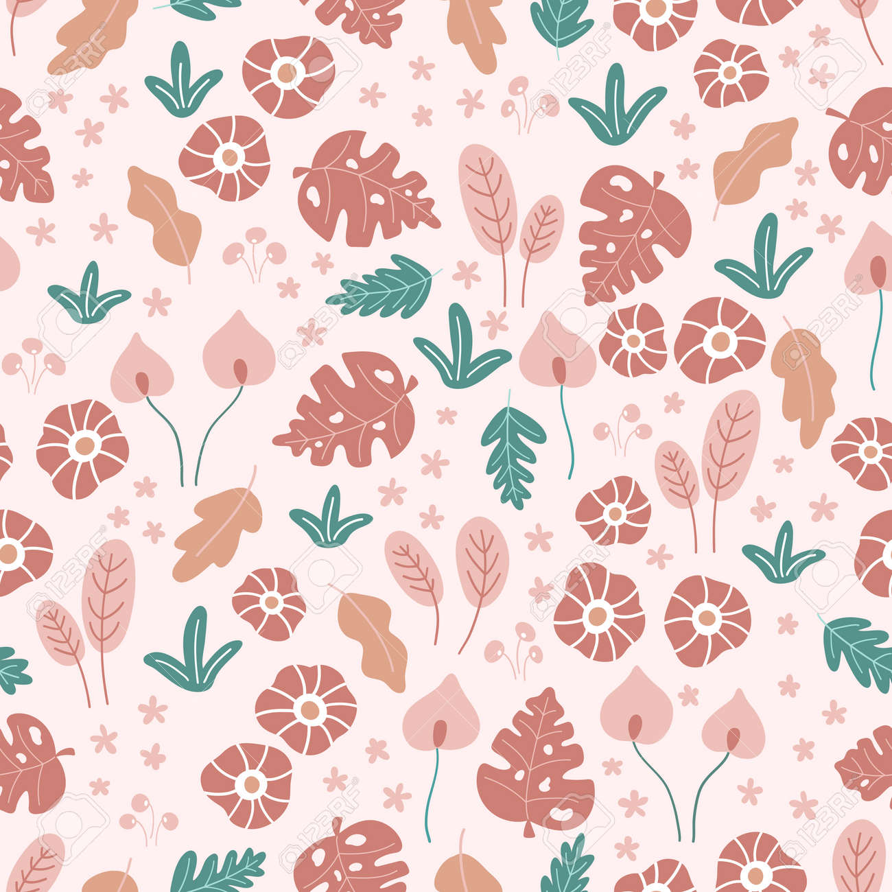 Floral seamless pattern with doodle flowers and leaves on pink background. Tropical hand drawn plants. Vector illustration. - 169086789