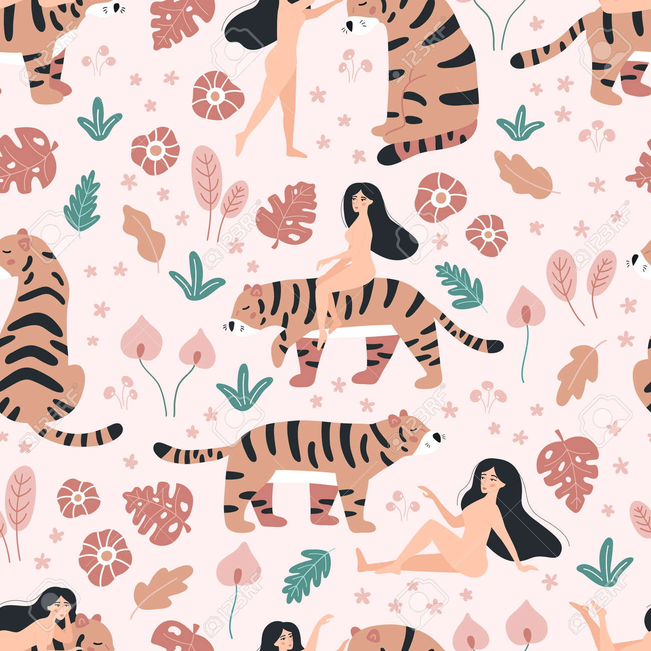 Vector seamless pattern with beauty women and tigers. Doodle tropical flowers on pink background. Wild jungle animals. - 169087087