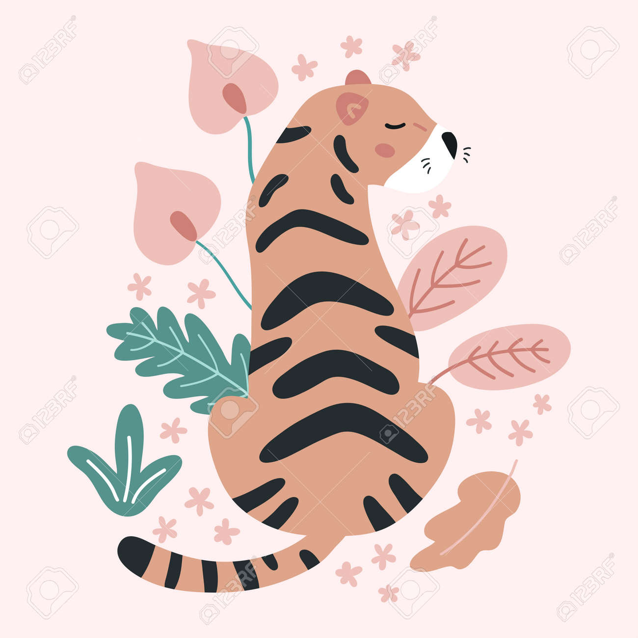 Hand drawn tiger with tropical flowers and leaves on pink background. Doodle abstract plants. Jungle vector illustration. - 169087092