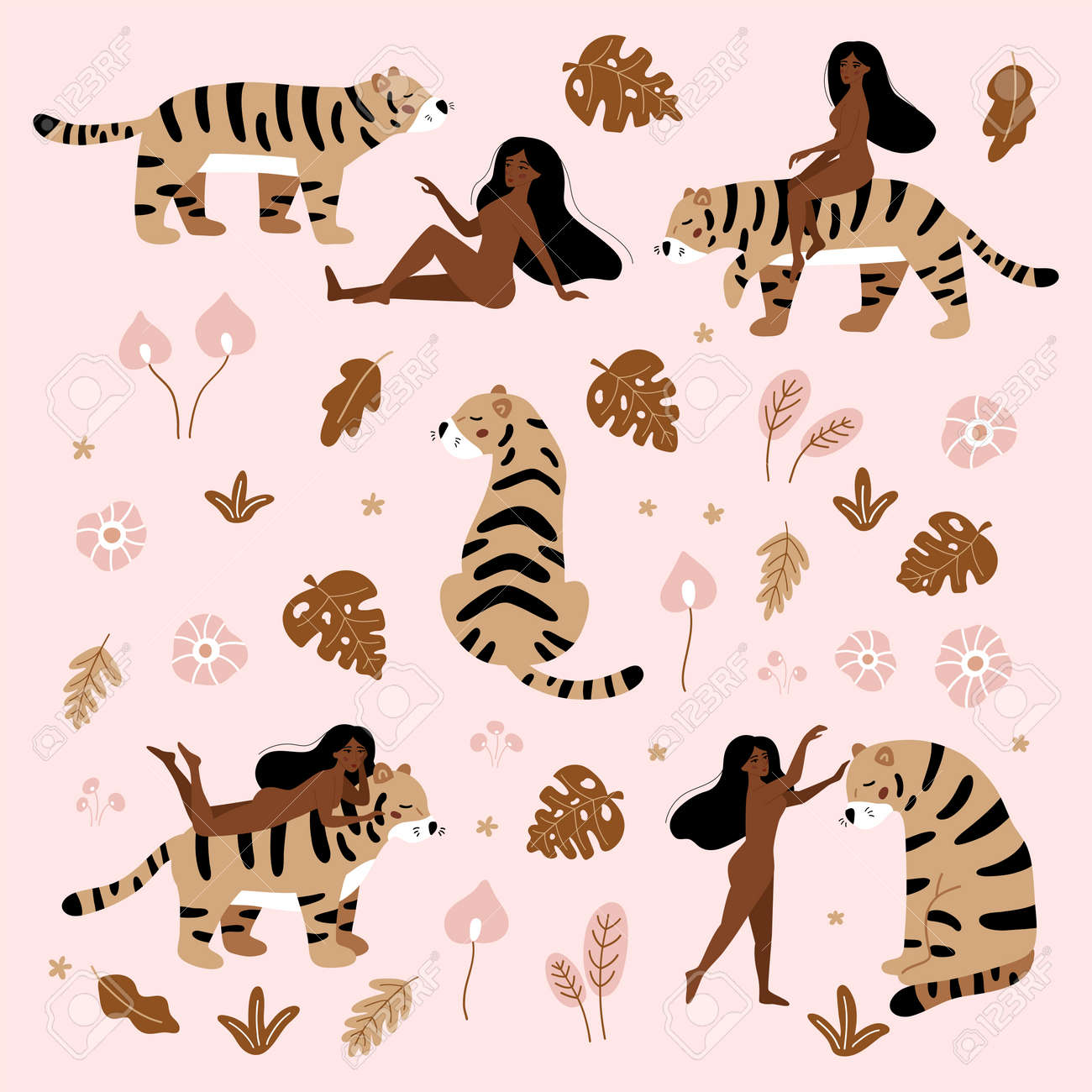 Nude women with wild cat - tiger. Tropical hand drawn plants. Exotic flowers on pink background. Wildlife set for feminism and body positive concept. - 169087096