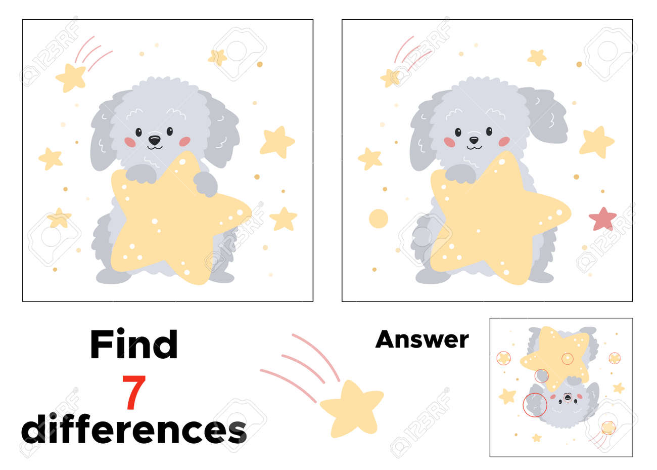 Educational game for preschool children. Find seven differences. With answer. Cartoon dog with stars. Printable worksheet for kindergarten. - 169087135