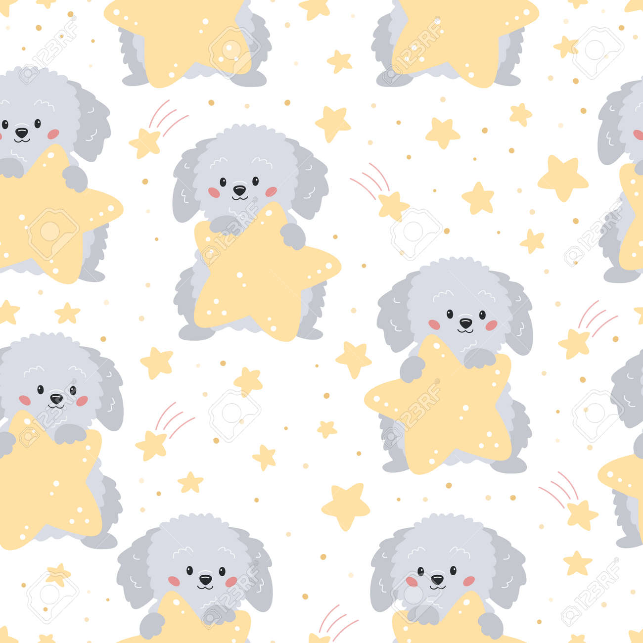Childish seamless pattern with cute cartoon grey dog and yellow stars on white background. Vector characters. Ideal for textile, wallpaper and print. - 169087137