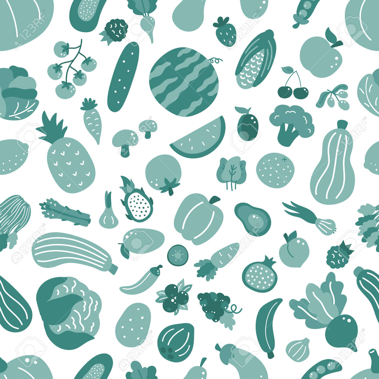 Seamless pattern with vegetables and fruits. Hand drawn doodle organic food on white background. Green monochrome vector illustration. Healthy food. - 169087144