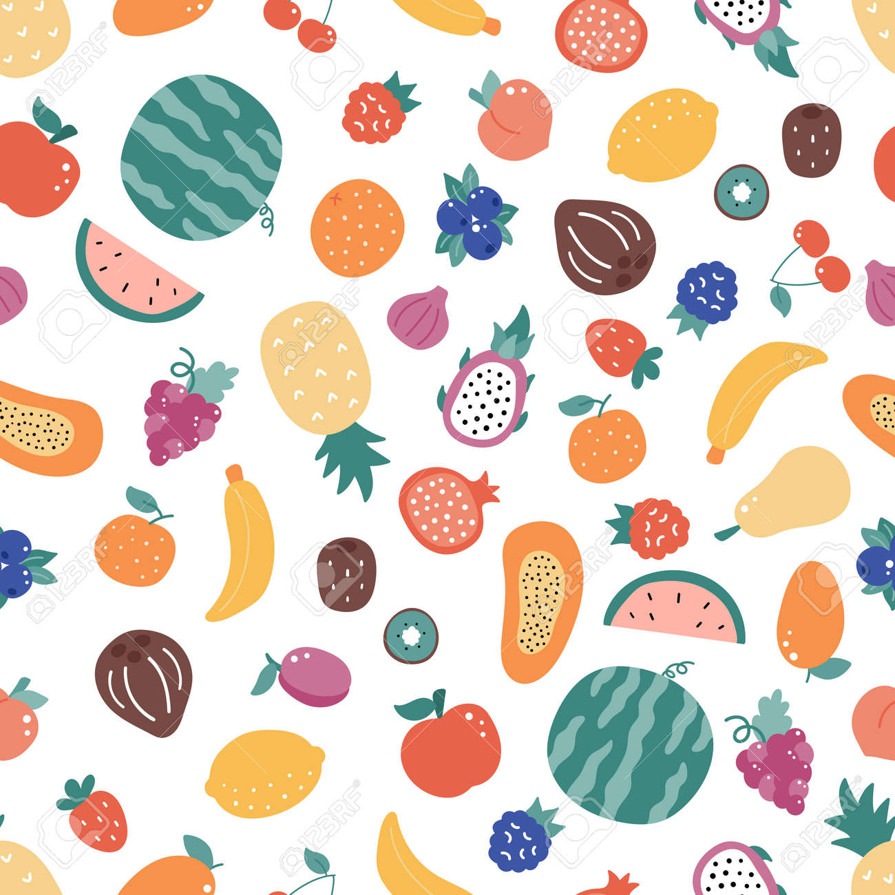 Seamless pattern with doodle fruits on white background. Hand drawn organic fresh food. Exotic and tropical fruits. Vector illustration. - 169087146