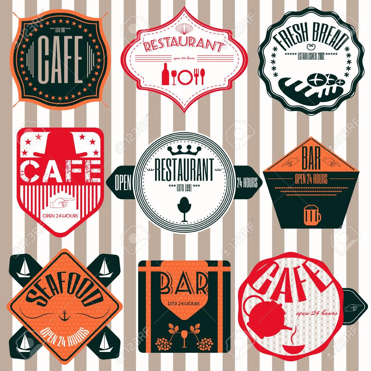Shop Nastri Set Ristorante Coffee D'epoca Retrò Badge Etichette Ed apAACwq