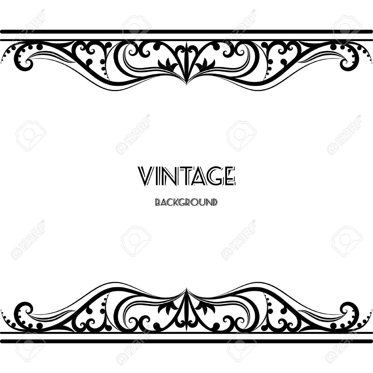 Vintage Background Frame Design Black Vector Retro Royalty Free