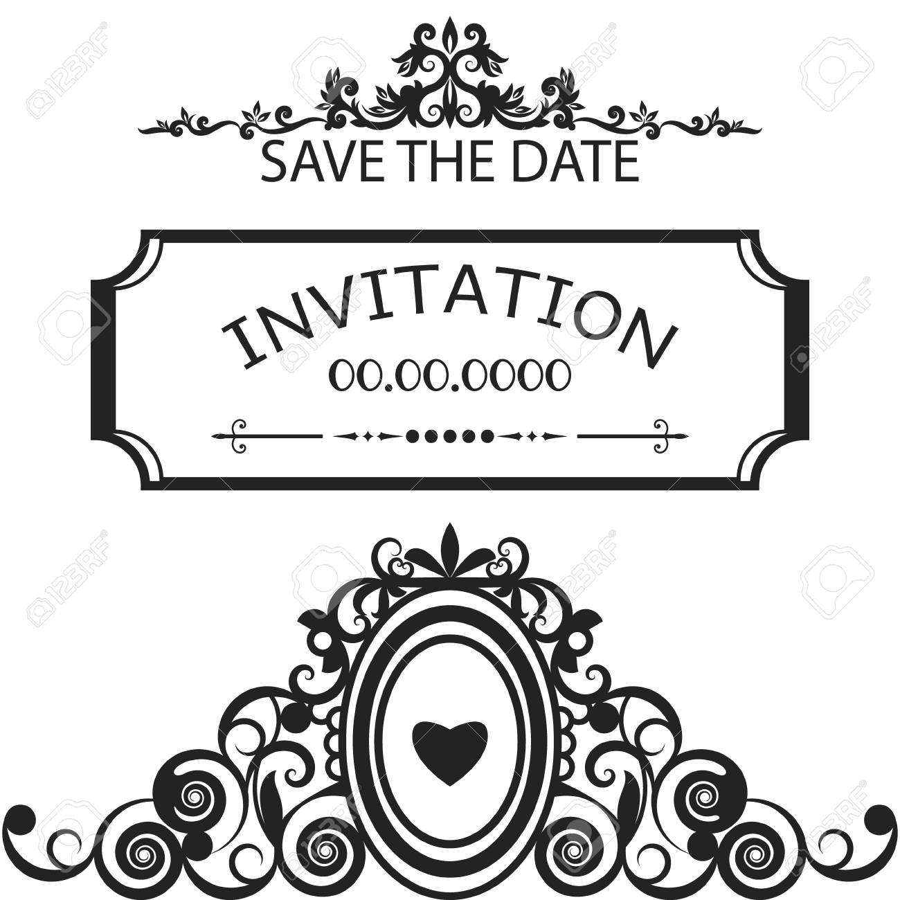 Frame For Invitation, Wedding, Save The Date Royalty Free Cliparts ...