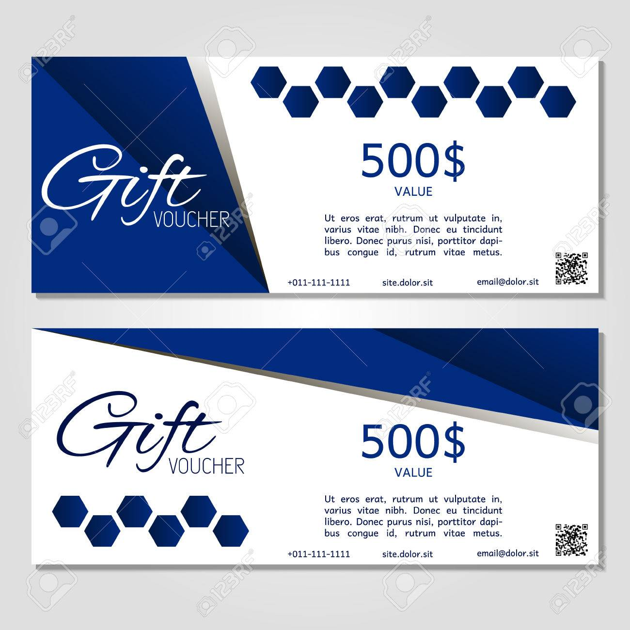 Gift Voucher Vector Illustration Coupon Template For Company Corporate  Style Present. Easy To Use And