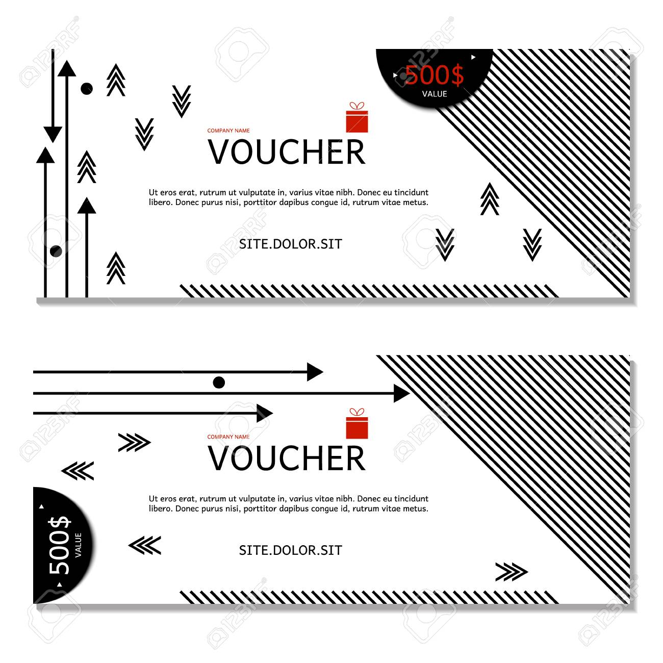 Gift Voucher. Vector, Illustration. Coupon And Voucher Template ...
