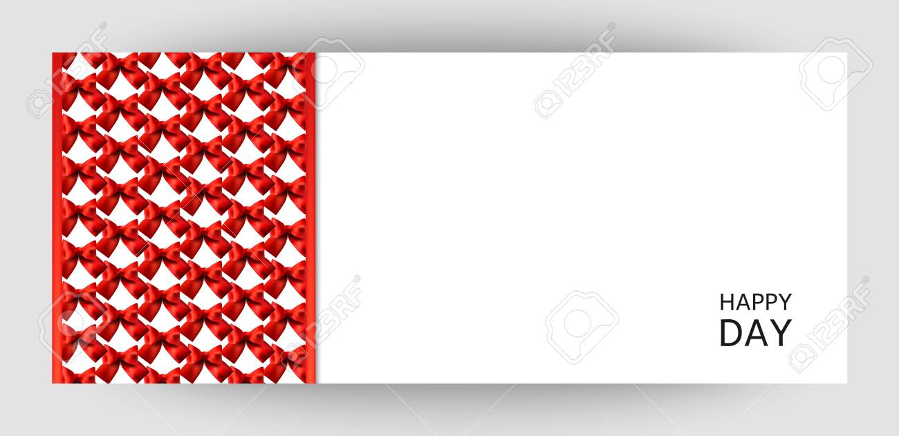 Horizontal Gift Ribbon Design Background With Red Bows. Invitation ...